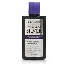 PRO:VOKE Touch of Silver Brightening Shampoo 150ml contains violet pigment to actively neutralise brassy, yellow tones and treat colour fading and dullness for instant, visible results. This toning treatment shampoo brightens coloured, natural or highlighted platinum, blonde, white and grey hair, resulting in vibrant, dazzling shine. For visibly brighter hair after just one wash. #haircareafterbleaching,