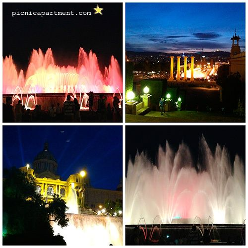 """Montjuic by nigh. Magic fountains. Barcelona beaches cicling a bike. From """"10 things to do in Barcelona with children""""!"""