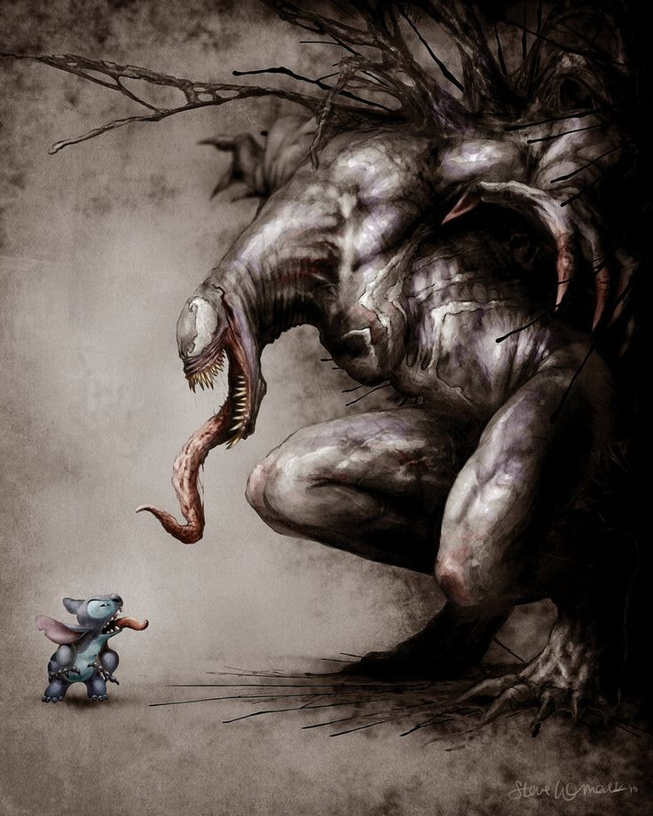 A commission for a client, whose favorite characters are Stitch and Venom. They wanted a standoff! Illustrated in Photoshop