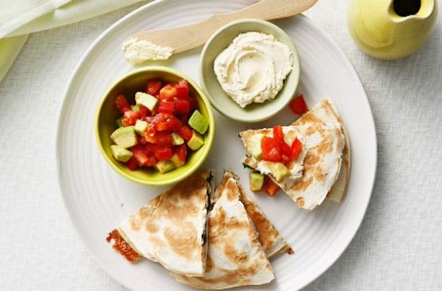 Beef quesadillas with tomato and avocado salsa