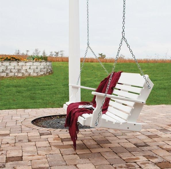 American Made Westchester Recycled Poly Swing The American Made Westchester Recycled Poly Swing is made of recycled milk jugs. Ultra strong poly resists warping, fading and cracking and is maintenance free.