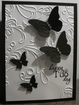 "Black and white wedding card.  Beautiful Wings embosslit, ""Word Play"" stamp, elegant lines embossing folder.  (all Stampin' Up); inspired by www.juliemakescards.blogspot.com"