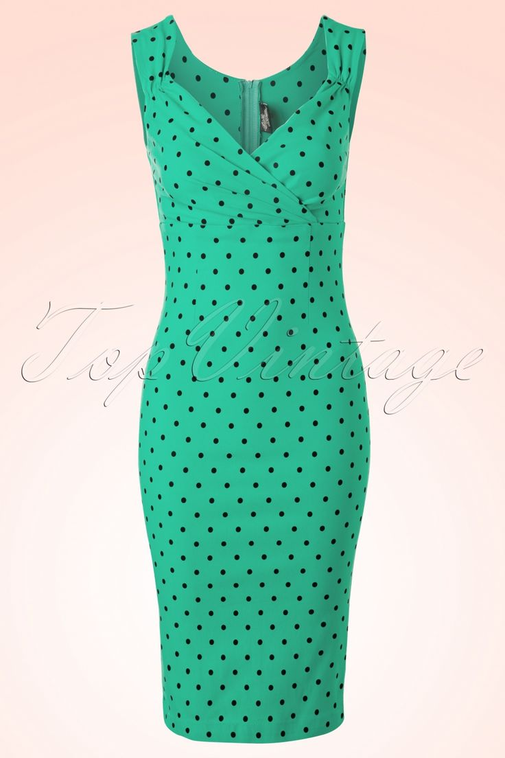 Steady Clothing - 50s Diva Polkadot Pencil Dress in Mint Green