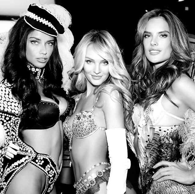Adriana, Candice, and Alessandra getting ready to rock the 2013 VS Fashion Show runway!