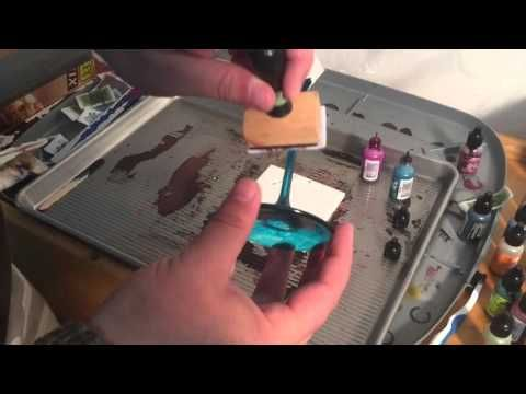 Alcohol Inks: Metallic Powders and a heat gun - YouTube