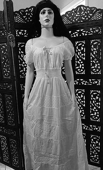 3bf71d198 vestido longo tecido lese manga ciganinha branco reveillon ...