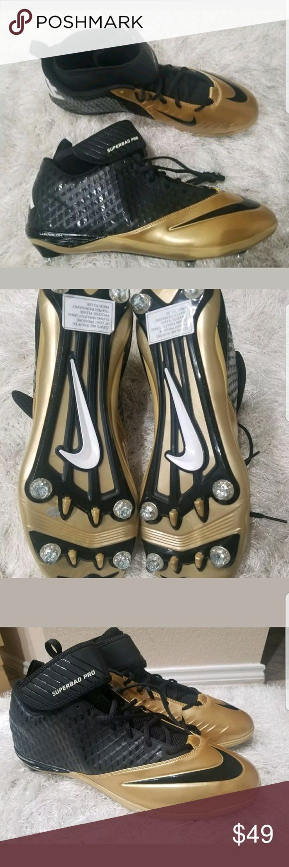 NIKE Lunarlon Super Bad Pro Football Cleats Shoes NIKE Lunarlon Super Bad Pro Football Cleats   Model 544762 020   Size 16   Color Gold Black   Brand new without box   Great Classic Cleats.   All items are packaged with care.   Thanks for looking! Nike Shoes Athletic Shoes
