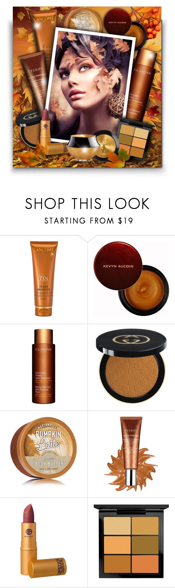 """""""Fall/Autumn Beauty!"""" by asia-12 ❤ liked on Polyvore featuring beauty, Lancôme, Kevyn Aucoin, Clarins, Gucci, By Terry, Lipstick Queen, MAC Cosmetics and Yves Saint Laurent"""