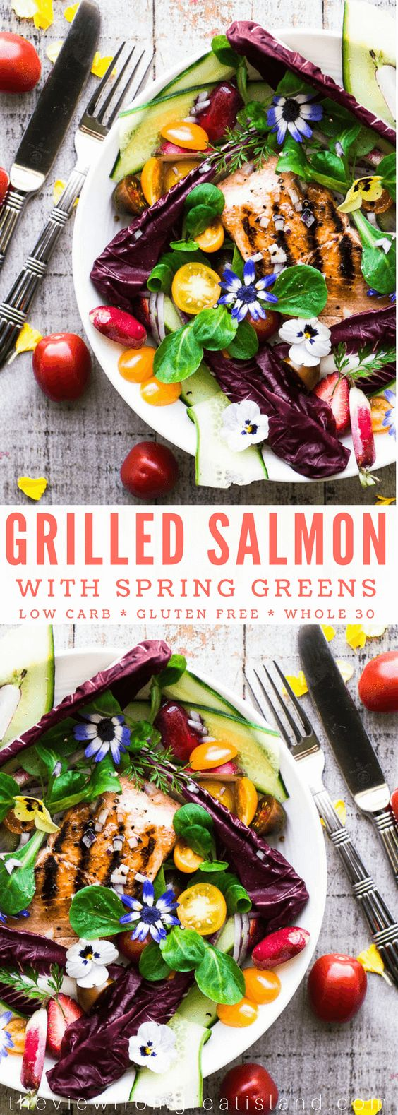 This Grilled Salmon Salad with spring greens and edible flowers is one of my favorite ways to eat fresh grilled fish like salmon, ahi, or halibut. This meal is low carb, gluten free, paleo, whole 30, and really satisfying. #salmon #grilledfish #fish #seafood #salmonsalad #springsalad #mothersday #brunch #lunch #glutenfree #whole30 #weightwatchers #lowcalorie #lowfat #lowcarb #mediterraneandiet #maincoursesalad #edibleflowers via @https://www.pinterest.com/slmoran21/