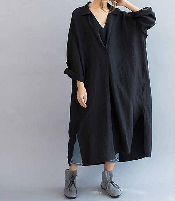 Women Loose Fitting linen Long dress/ Asymmetric oversized loose linen dress