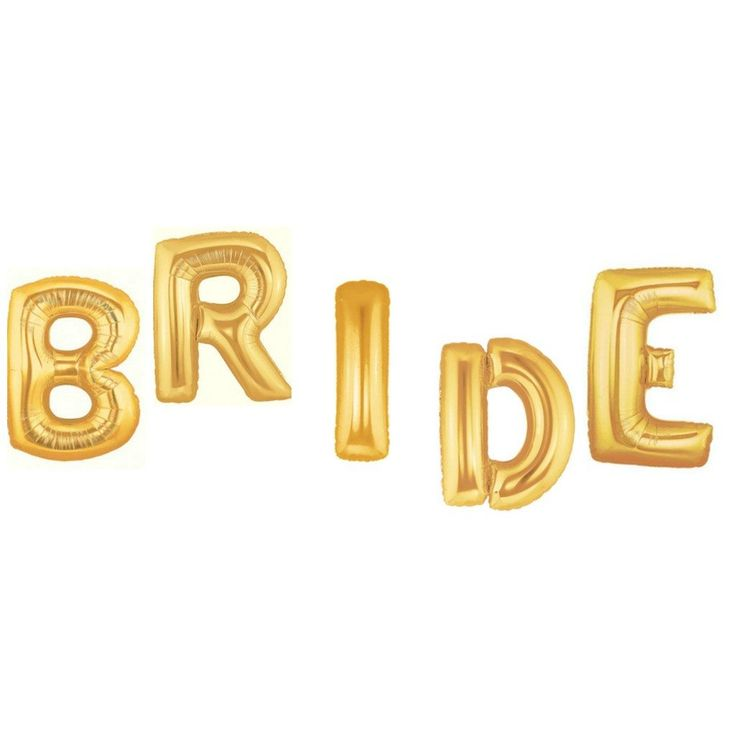 """Celebrate your big day with our giant bride balloons in gold foil.  These will definitely make a big statement for your wedding, bridal shower or bachelorette celebration.  EACH balloon measures 40"""" tall!  That's right each balloon is over 3 ft. tall!  Giant BRIDE Balloon in Gold"""