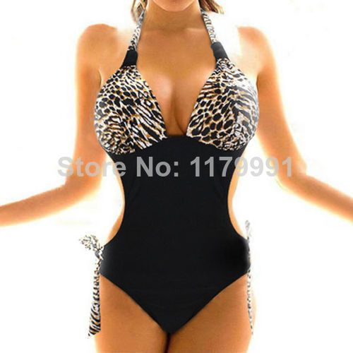 Fashion Sexy Brown Leopard Print One-Piece Monokini Swimsuit Swimwear S-XXL WXM US $11.99