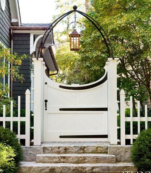 Good Gartentor wei interessantes Design Beleuchtung