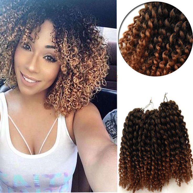 Curly Crochet Braids Hair 8inch Water Wave Mali Bob Crochet Braiding Hair 3Pcs/set Kinky Curl Kanekalon Braid Hair Ombre Synthet