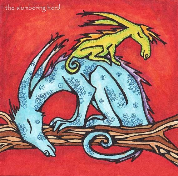 .: Dragons Sleeping, Dragons Breath, Art Blue, Creatures Original, Original Art, Dark Fantasy, Dragons Dark, Blue Red, Magical Creatures