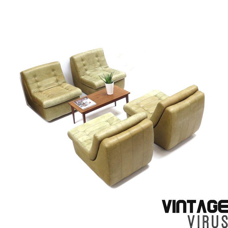 [:en]Leather mid century element sofa[:nl]Vintage elementenbank van groen leer