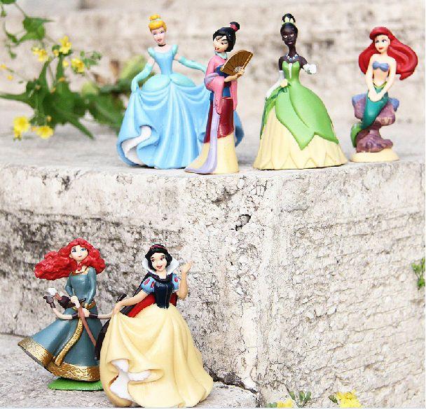 6pcs/lot Anime Cartoon Princess doll Snow White Ariel Cinderella Merida Tiana Hua Mu-Lan PVC action figure toy #Affiliate