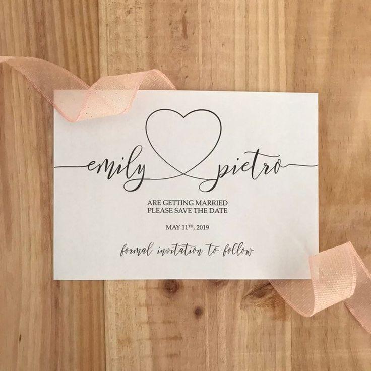 Herz Save the Date Kalligraphie | Hochzeit retten die datumsschablone | Liebesherz Save the Date DIY retten das Datumsherz   – Handlettering und Aquarell