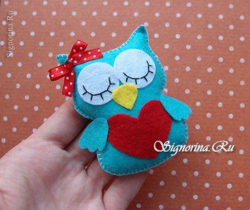 Сова из фетра - подарок на день Святого Валентина своими руками: фото