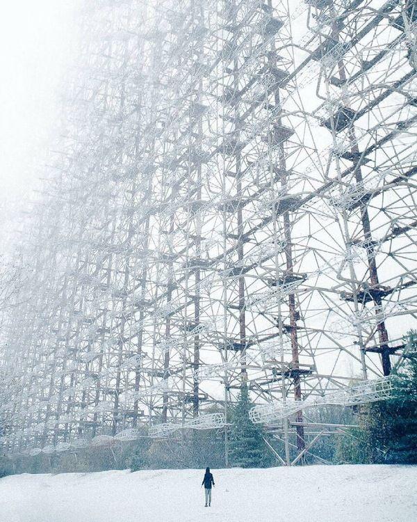 """Зима в Чернобыле.  РЛС """" Дуга""""."""
