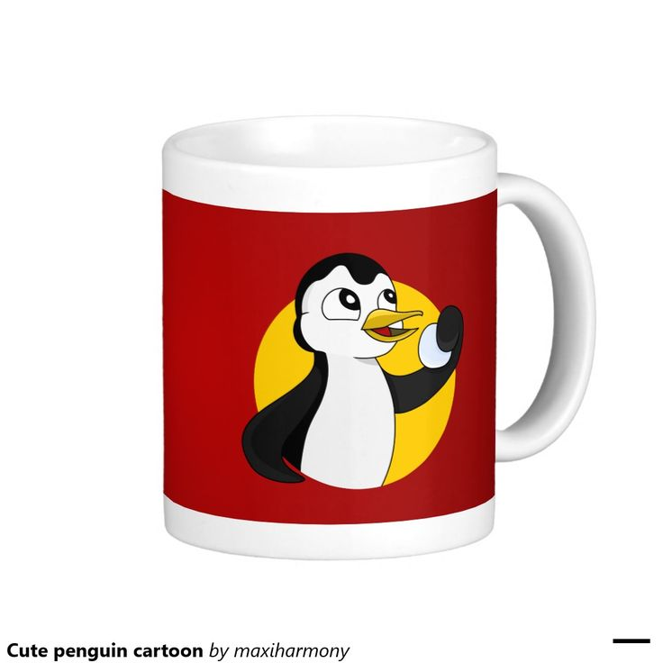 Cute penguin cartoon classic white coffee mug