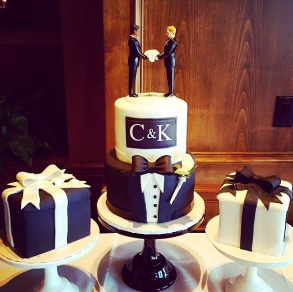 Tuxedo Wedding Cake, an original from Over the Rainbow, always a stunner!