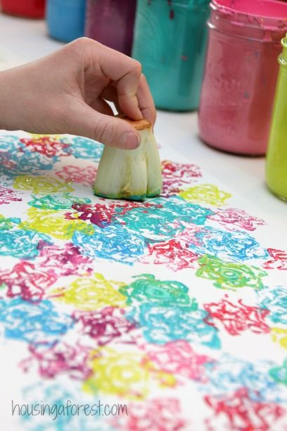 vegetable stamps using lettuce housing a forest - Printing With Children