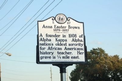 Historical marker honoring Anna Easter Brown, one of the founders of Alpha Kappa Alpha Sorority, Inc. (Rocky Mount, North Carolina)