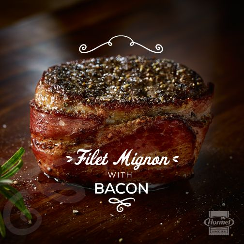 Classic filet mignon wrapped in crispy bacon makes for a perfect main event. #BaconLovesSteak