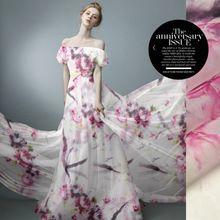 135 cm szerokości 8mm różowy kwiatowy biały sztywne silk organza tkaniny do sukni koszula ubranie spodnie D058(China (Mainland))
