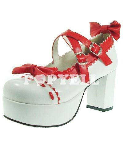Glamorous rouge blanc 3 1 / 5 '' Unité centrale de haute plate-forme du talon Chaussures Femme Lolita a prix pas cher chez Popyell.com #chaussures #lolita