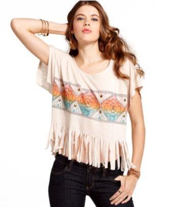 Miss Chevious Top, Short Sleeve Fringed Tribal Print - Juniors Tops - Macy's