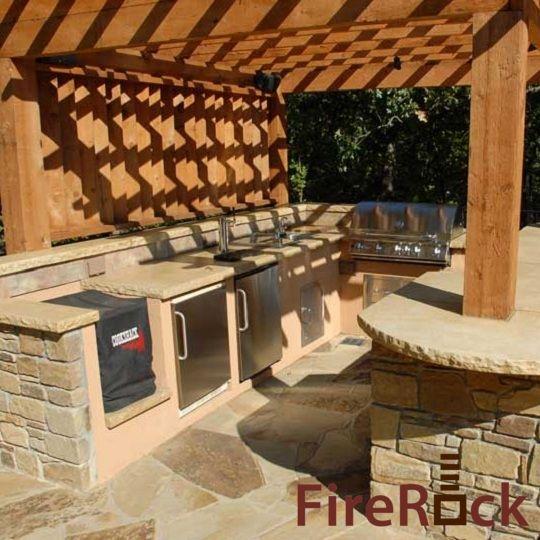 Firerock outdoor fireplace kit firerock building for Fireplace material options