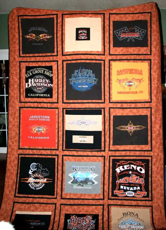 Pictures of T-Shirt Quilts Help You Design a Quilt: T-Shirt Quilt for a Harley-Davidson Fan