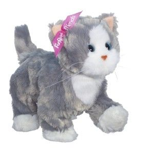 Lulus Walkin Kitties Bootsie Pet (Grey/White) Kitty walks and meows, as a  kitty's should do. Just press her on the top of her back and she  meows and purrs. She can also walk and knead its paws just like a real kitty. http://bit.ly/1AeSvbF