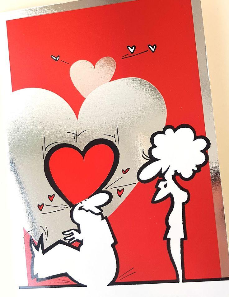 Biglietto d'amore simpatico e con un messaggio semplice e diretto: mi sono innamorato di te!  All'esterno stampato a colori con effetto metallizzato. Interno bianco da completare con il tuo messaggio... o la tua dichiarazione d'amore! B