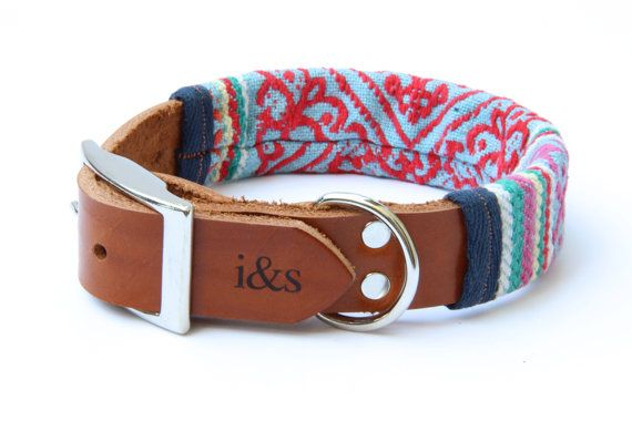 Leather Dog Collar with Thai Woven Sleeve // One by ikeandstella, $65.00
