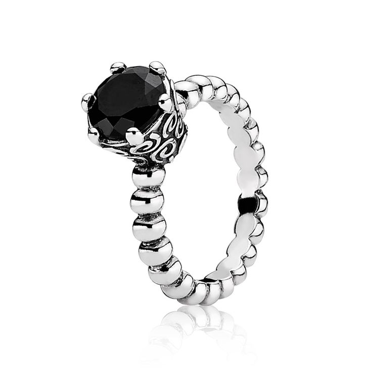 Black Spinel and Silver Bubble Ring - PANDORA - 190851ME