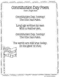 Mrs. Richardson's Class: A Constitution Day poem to use for shared reading or to add to poetry journals, includes rhyming words