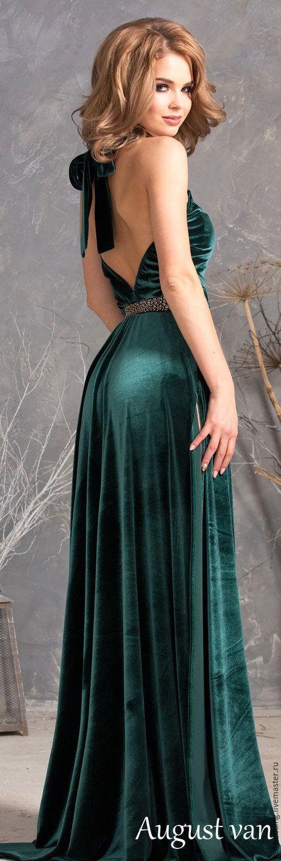 Купить Платье из Королевского бархата,с открытой спинкой, макси с разрезом. - бархатное платье