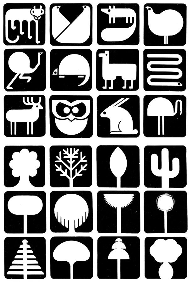 simple and effective animal logos... designed by Guillermo González Ruiz as signage for cities in Argentina.