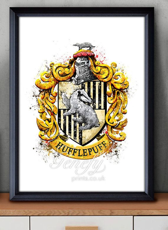 Les enfants de Harry Potter Poufsouffle Crest aquarelle Art Poster Print - Wall Decor - Aquarelle - Aquarelle Art - Decor - Decor de pépinière