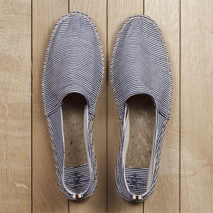 Espadrilles rayées en coton épais Bleu Marine/Blanc homme – la mode homme sur Jules.com