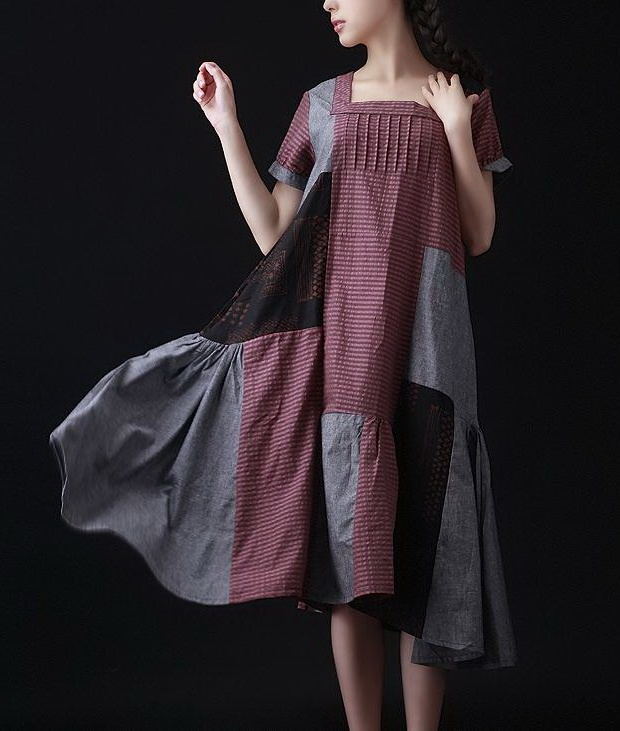 Loose style Patchwork Dress
