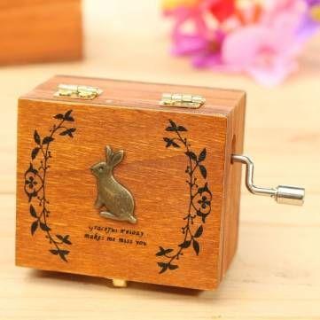 Mini Wooden Novelty Hand Crank DIY Slide Drawer Music Box Birthday Gift Sale…