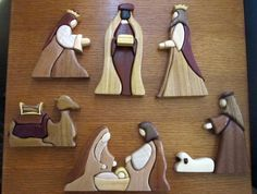 Exotic wood intarsia nativity set. $300.00, via Etsy.