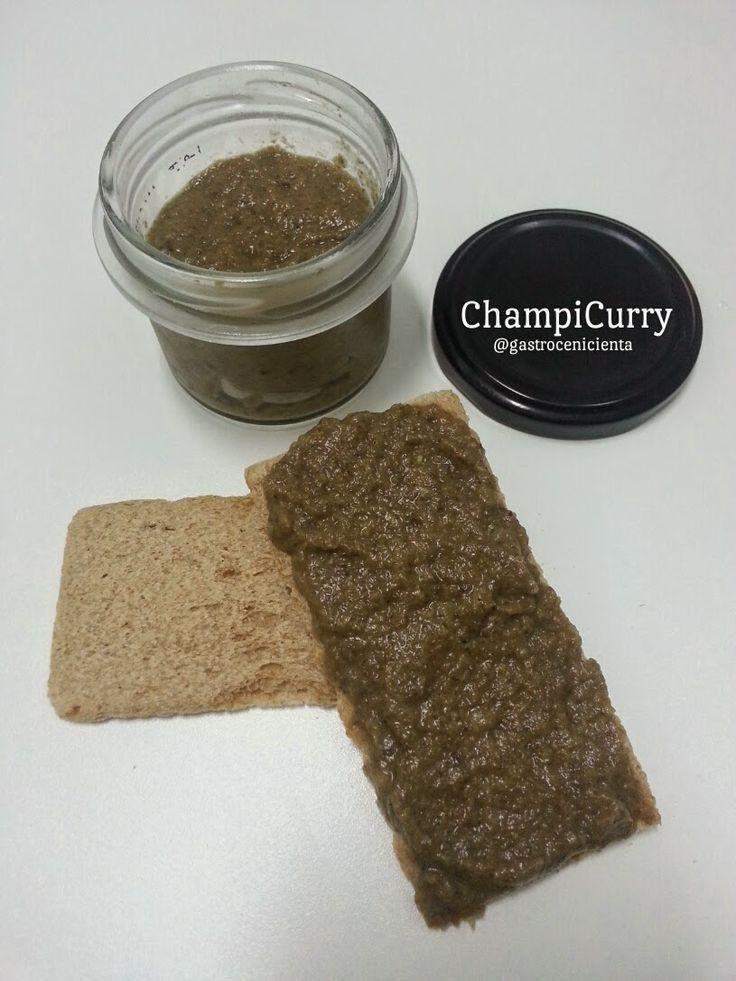GastroCenicienta: Paté de Champiñón al Curry Verde (ChampiCurry)  Necesitamos (para 2 botes de los típicos de paté)  250 gr de champiñones  1/2 cebolla 2 cucharadas de pasta de curry verde 1/2 cucharada de pasta de curry rojo 1 cucharadita de aceite de oliva virgen