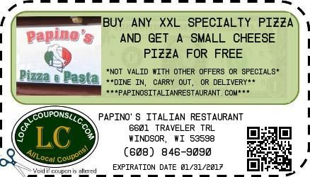 Pizza coupon in Deforest WI for Papino's Italian Restaurant from Local Coupons LLC.
