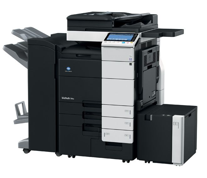 Alpha Digital - bizhub 754e Speed A4/A3: 75/37 ppm in black & white Paper formats: A6-SRA3, custom formats and banner format up to 1.2 metres length Dual-scan document feeder scans both sides of double-sided originals in one run at a speed of 180 ipm in colour 9-inch colour touch panel with multi-touch support Versatile finishing options for enhanced productivity