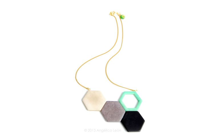 Honey Tagua Necklace. Geometrical contemporary handsculpted tagua necklace. www.angelicaleon.net